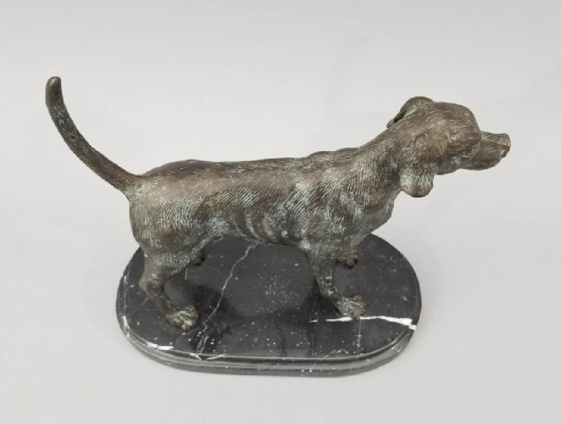 Dog Table Statue w Carved Oval Marble Base - 4