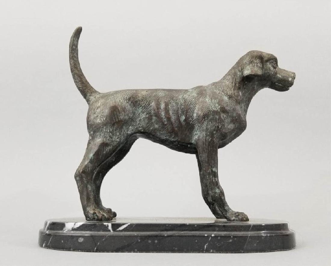 Dog Table Statue w Carved Oval Marble Base - 6