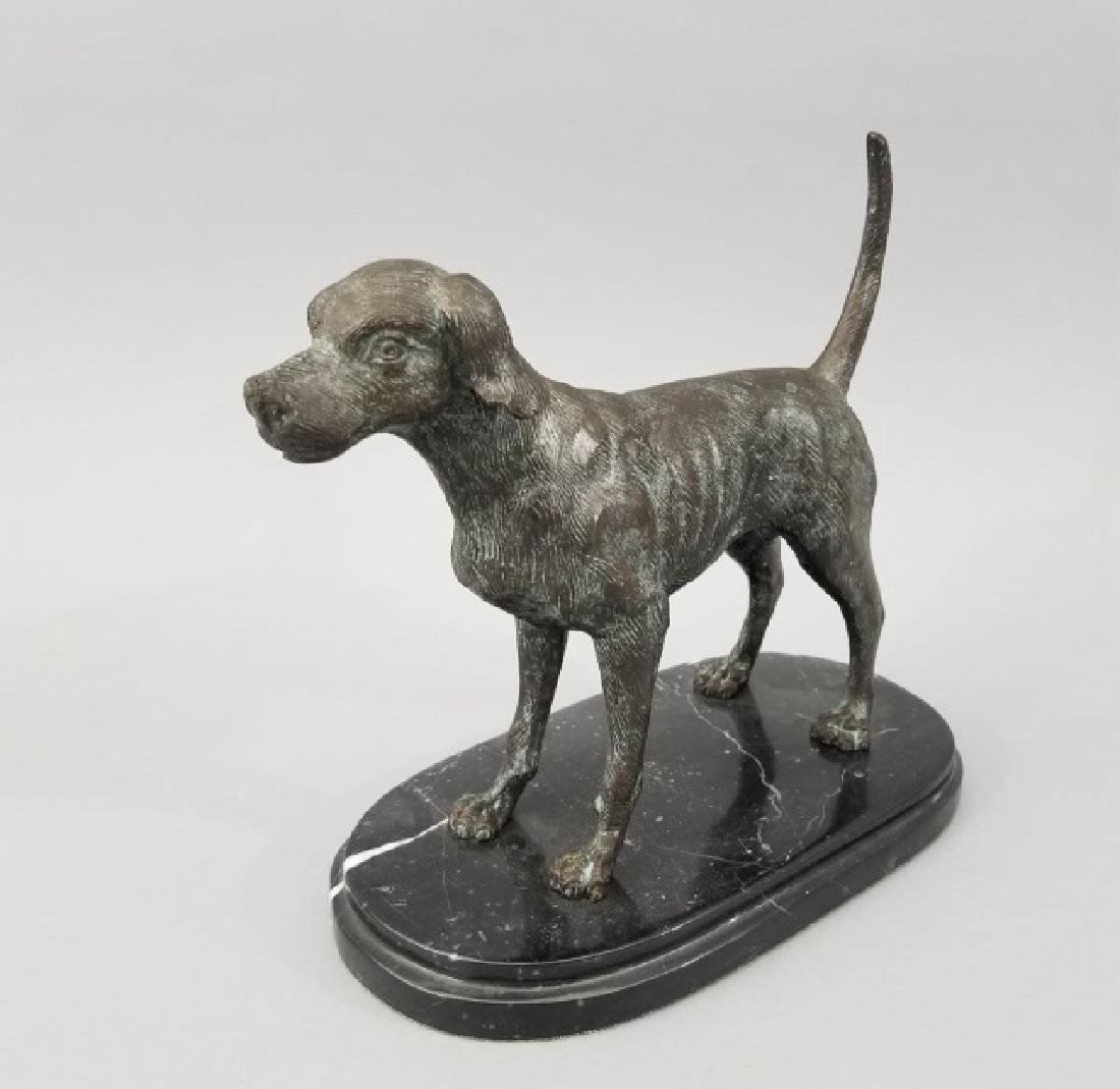 Dog Table Statue w Carved Oval Marble Base - 7