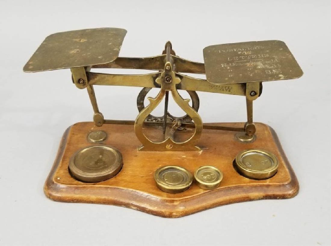 "Antique ""Postal Rates"" Wood & Metal Counter Scale"