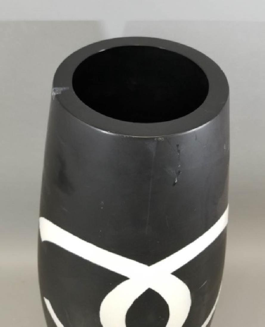 Tall Black & White Floor Vase with Chanel Logo - 4