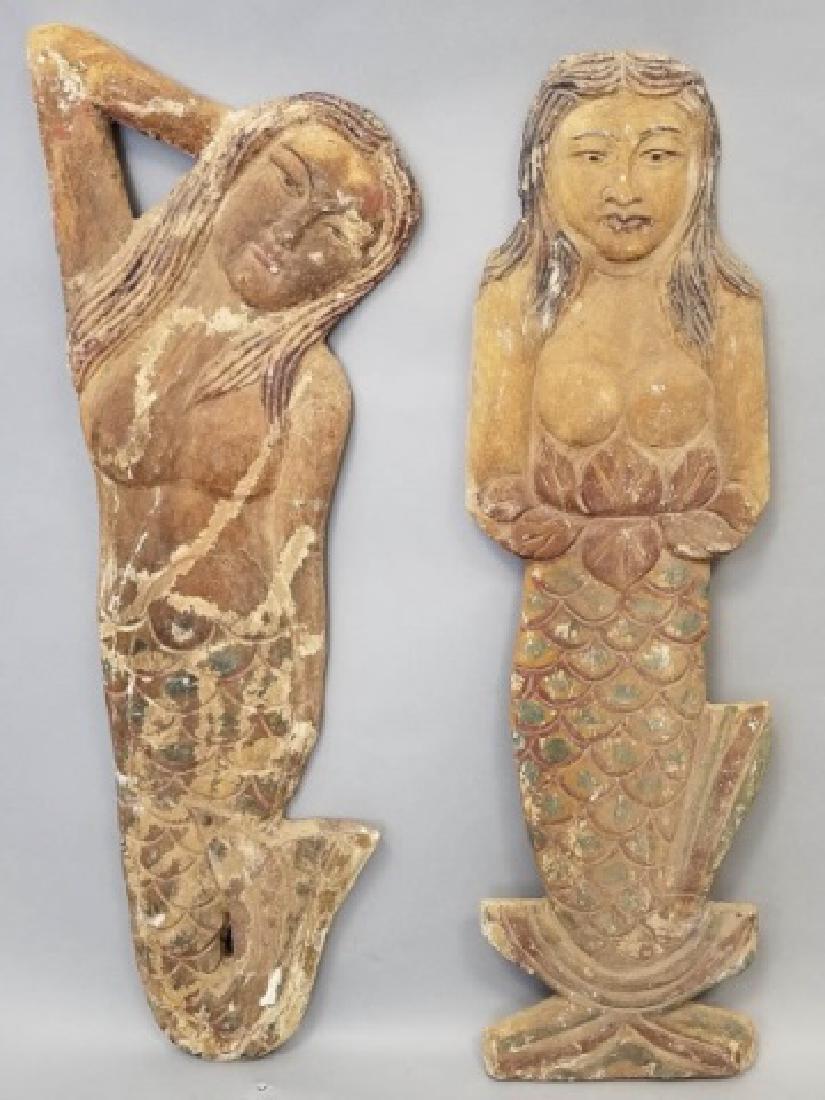 Pair of Vintage Carved Wood Mermaids