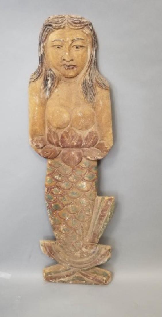 Pair of Vintage Carved Wood Mermaids - 3