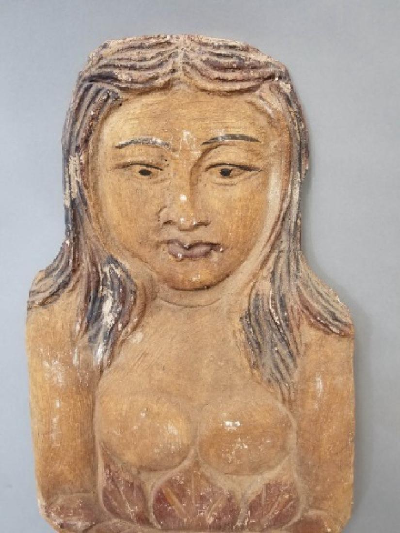 Pair of Vintage Carved Wood Mermaids - 4