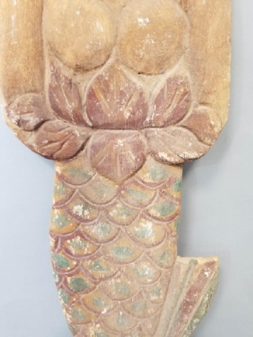 Pair of Vintage Carved Wood Mermaids - 5