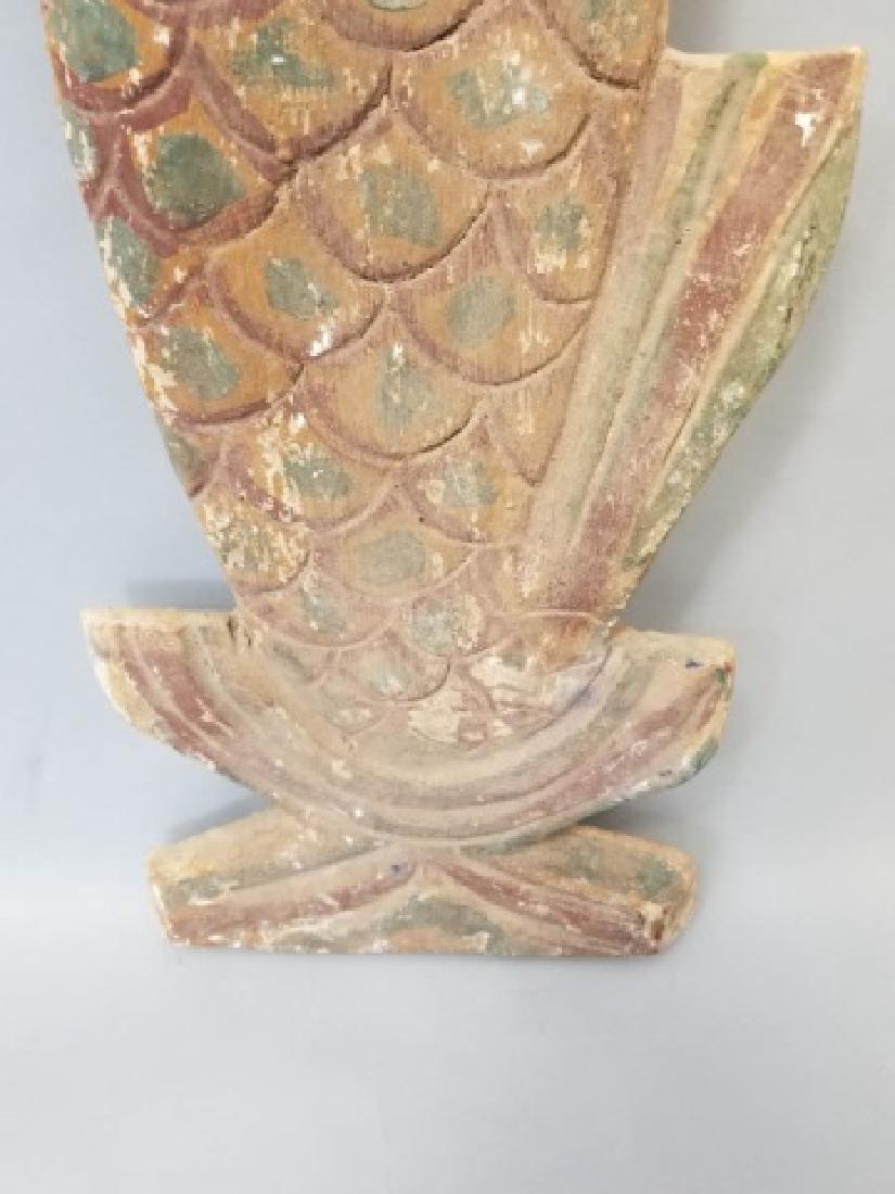 Pair of Vintage Carved Wood Mermaids - 6