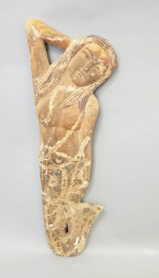 Pair of Vintage Carved Wood Mermaids - 7