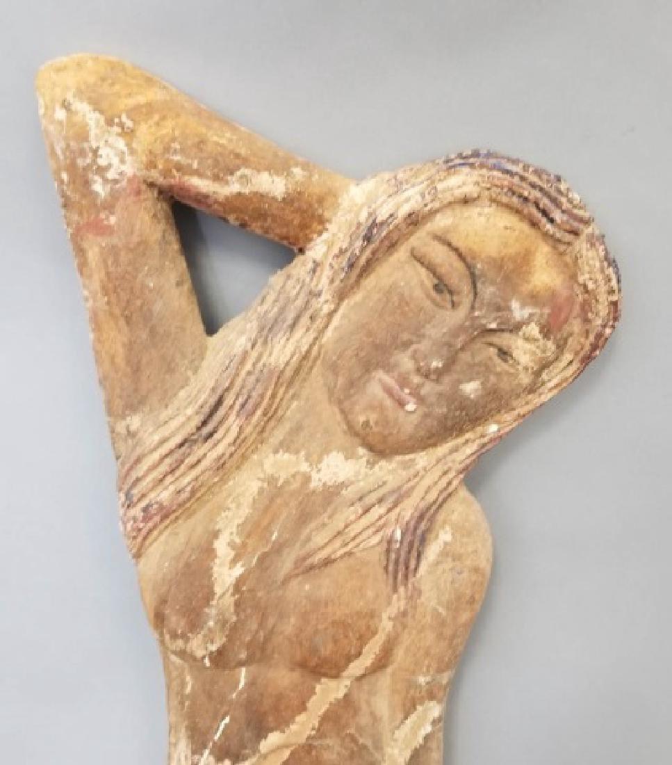 Pair of Vintage Carved Wood Mermaids - 8