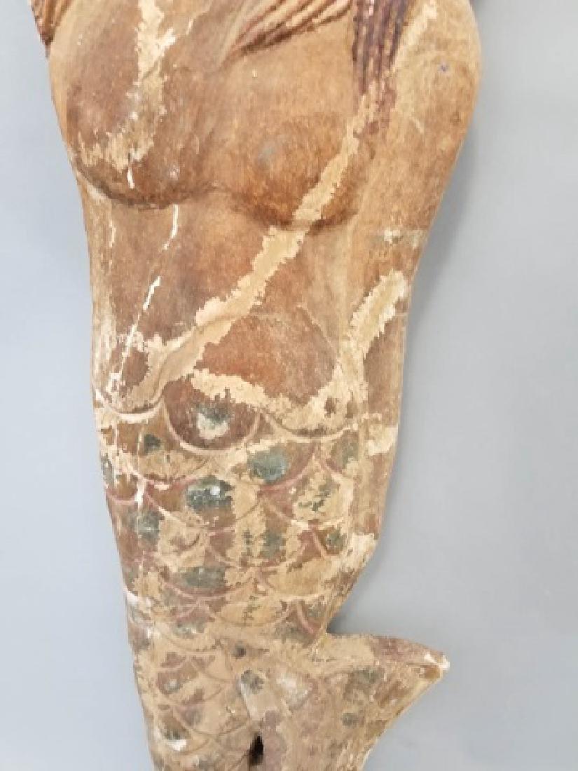 Pair of Vintage Carved Wood Mermaids - 9