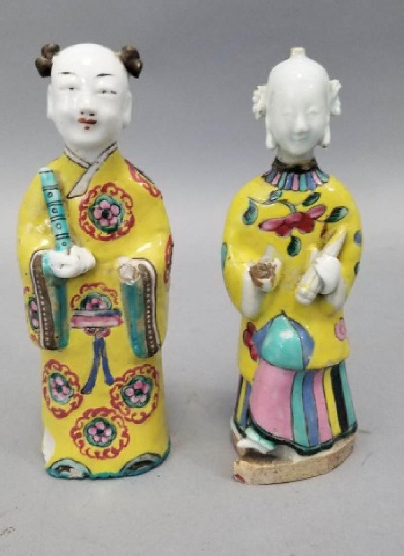 Pair Antique Chinese Hand Painted Porcelain Statue
