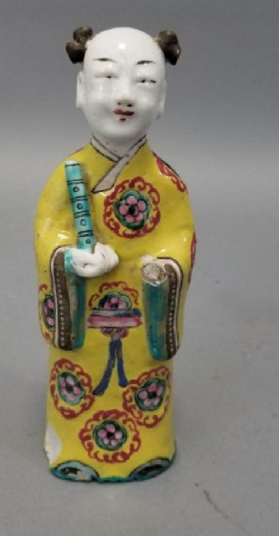 Pair Antique Chinese Hand Painted Porcelain Statue - 2