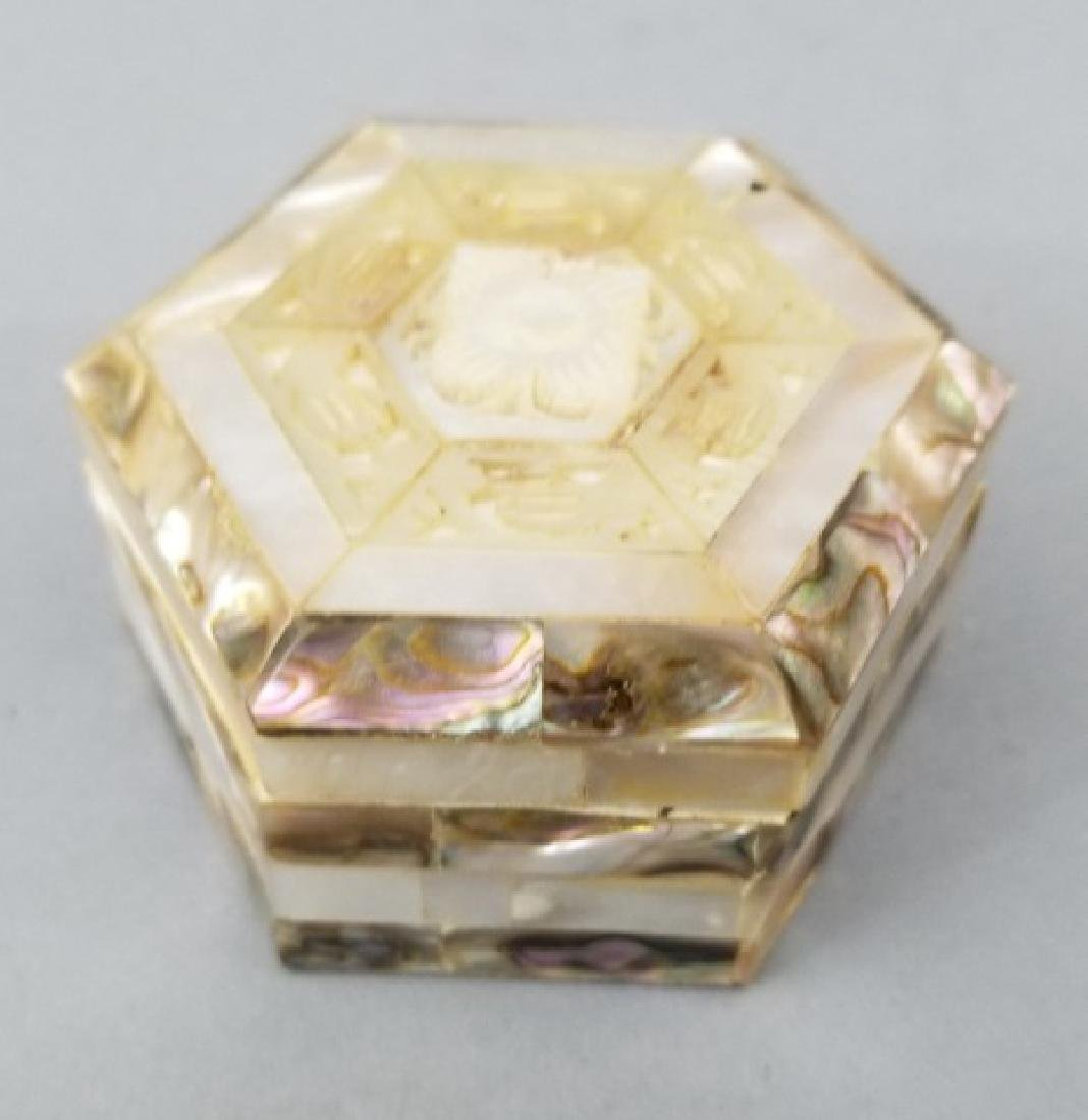 Antique Mother of Pearl Box & Chinese Games Pieces - 9