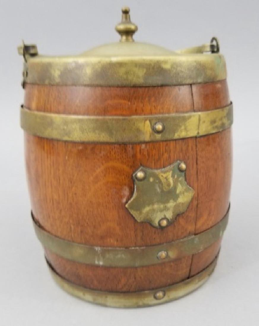 Antique English Barrel Form Biscuit / Cookie Jar