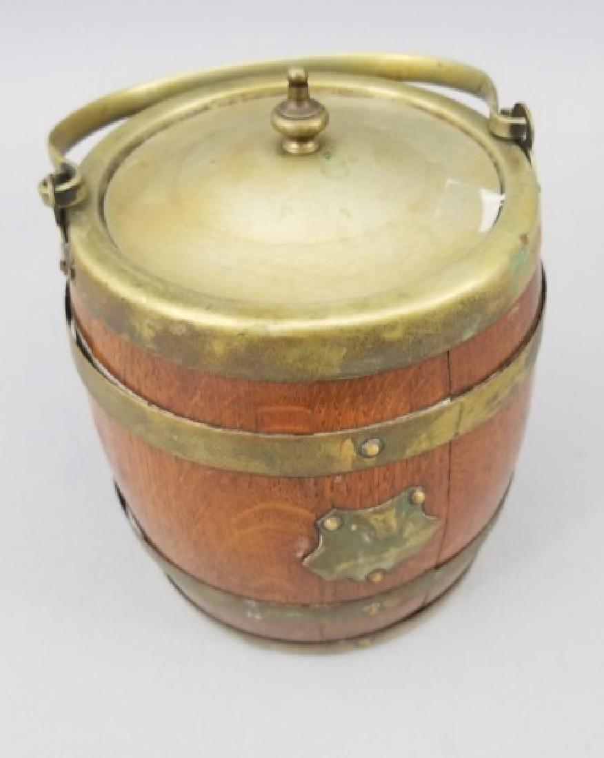 Antique English Barrel Form Biscuit / Cookie Jar - 4