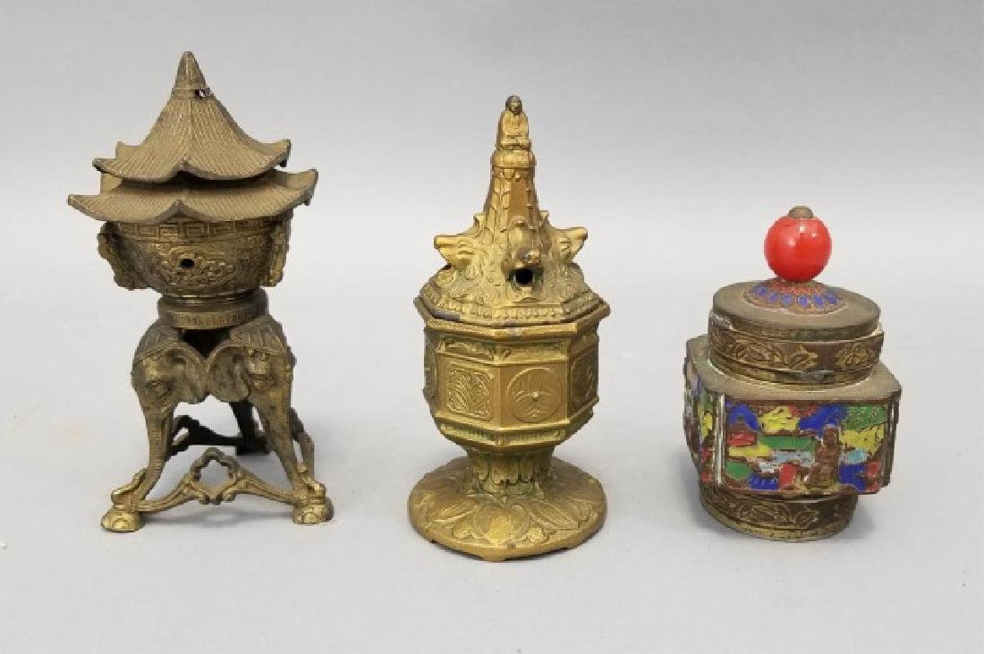 Antique Chinese Incense Burners & Enamel Caddy