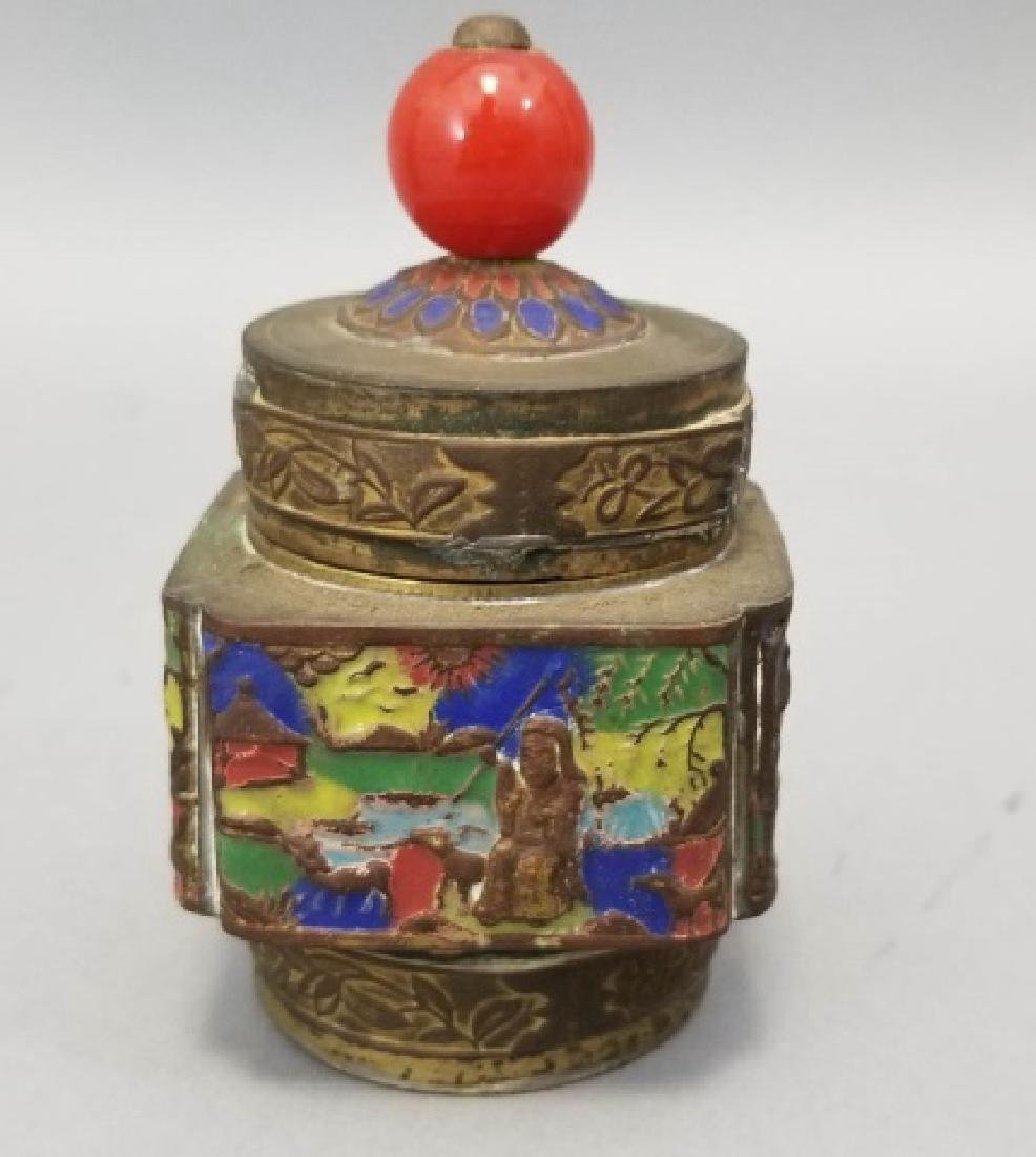 Antique Chinese Incense Burners & Enamel Caddy - 3