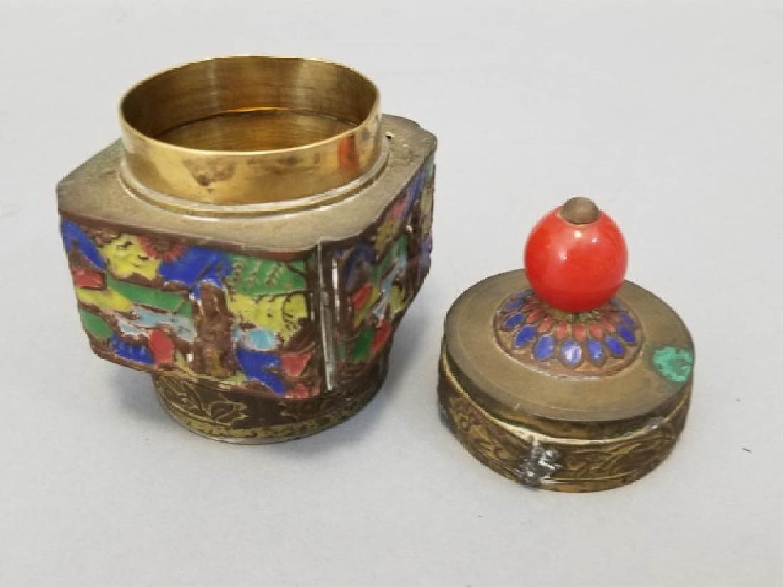 Antique Chinese Incense Burners & Enamel Caddy - 4