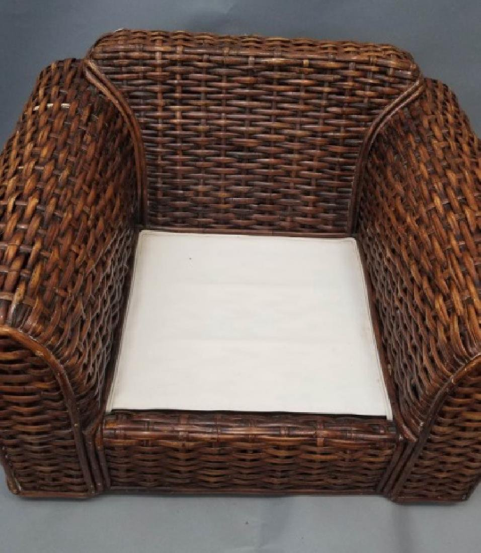 Ralph Lauren Peel Collection Rattan Chair Ottoman - 2