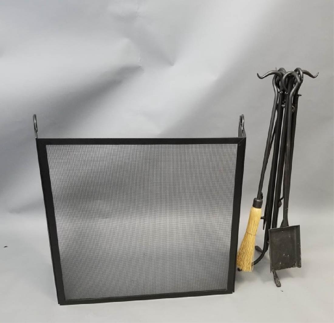 Fire Screen & Black Iron Fireplace Tools on Stand