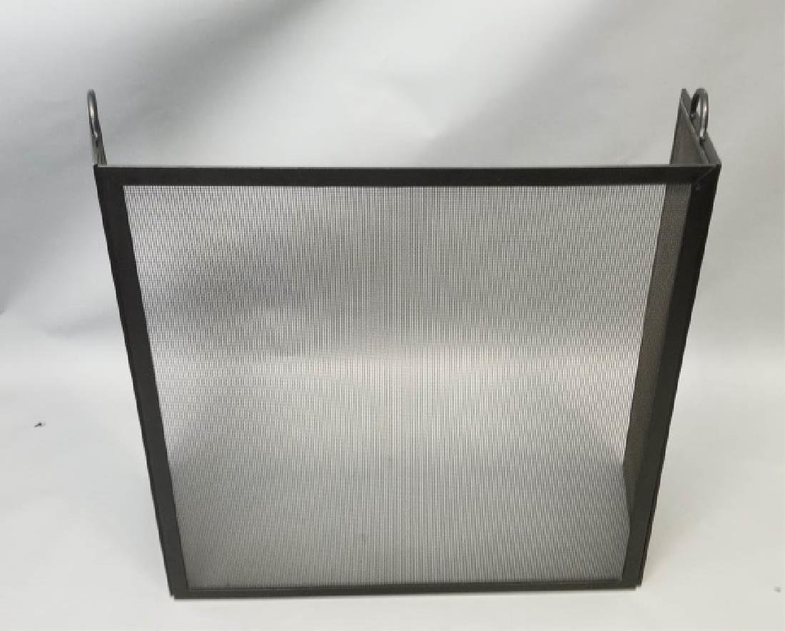 Fire Screen & Black Iron Fireplace Tools on Stand - 3