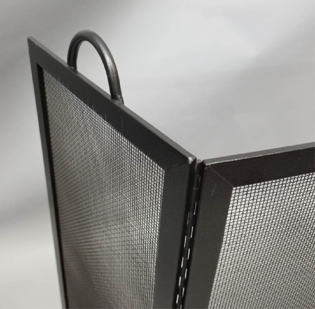 Fire Screen & Black Iron Fireplace Tools on Stand - 4