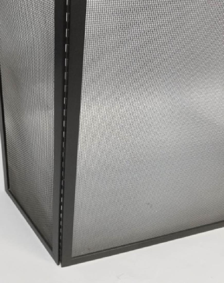 Fire Screen & Black Iron Fireplace Tools on Stand - 5