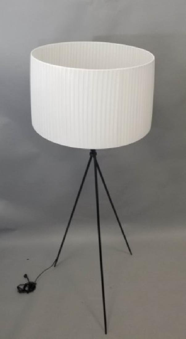 Black Steel Tripod Lamp w Large White Silky Shade - 2