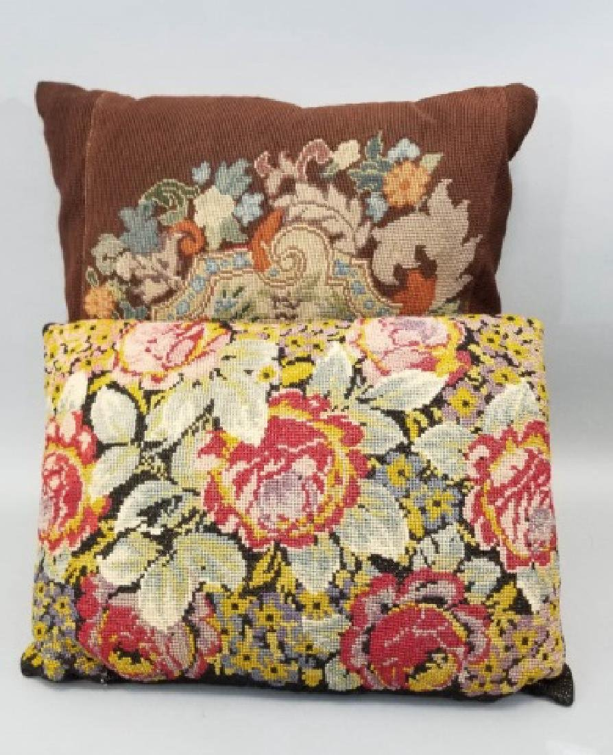 2 Pillows with Antique Needlepoint Textile Fronts