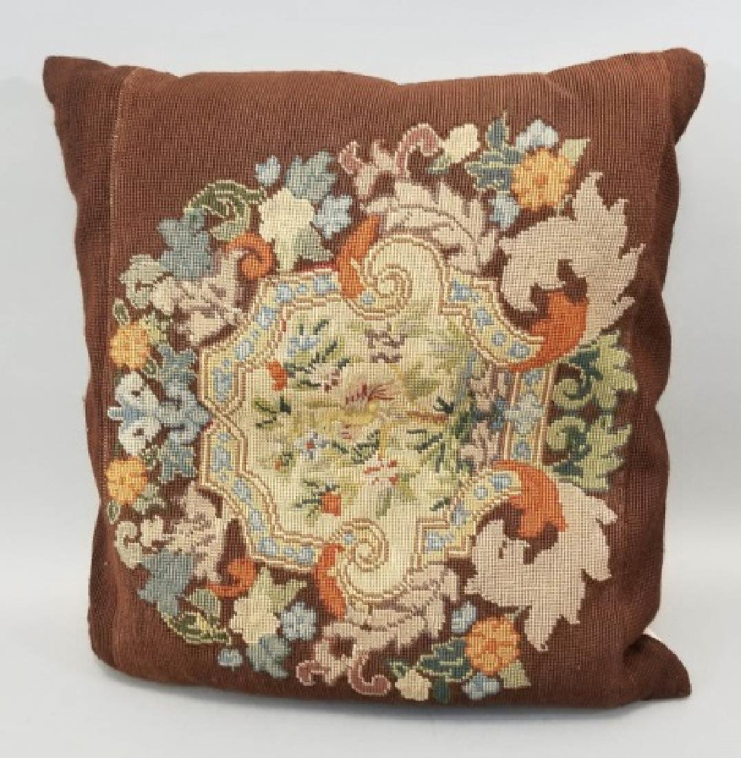 2 Pillows with Antique Needlepoint Textile Fronts - 3
