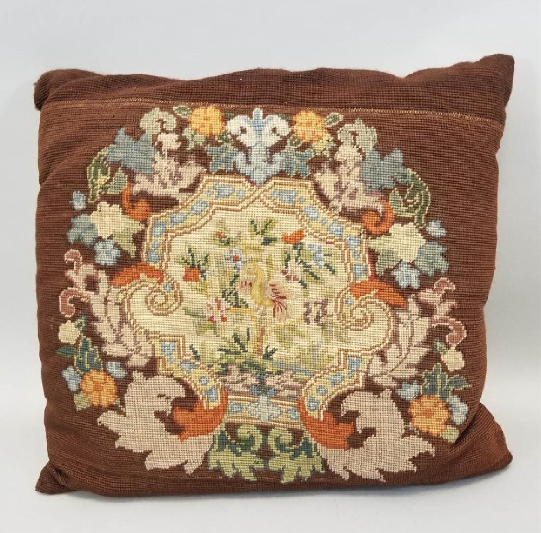 2 Pillows with Antique Needlepoint Textile Fronts - 4