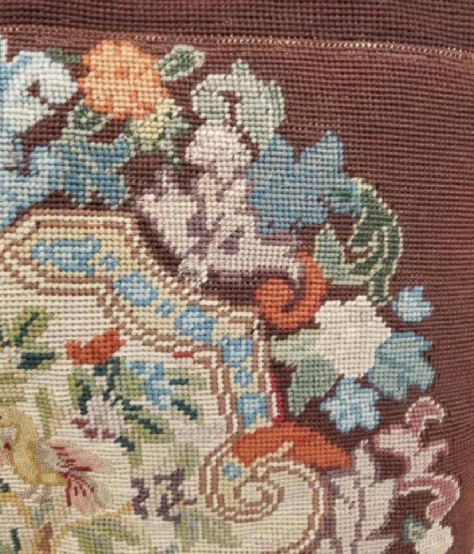 2 Pillows with Antique Needlepoint Textile Fronts - 5
