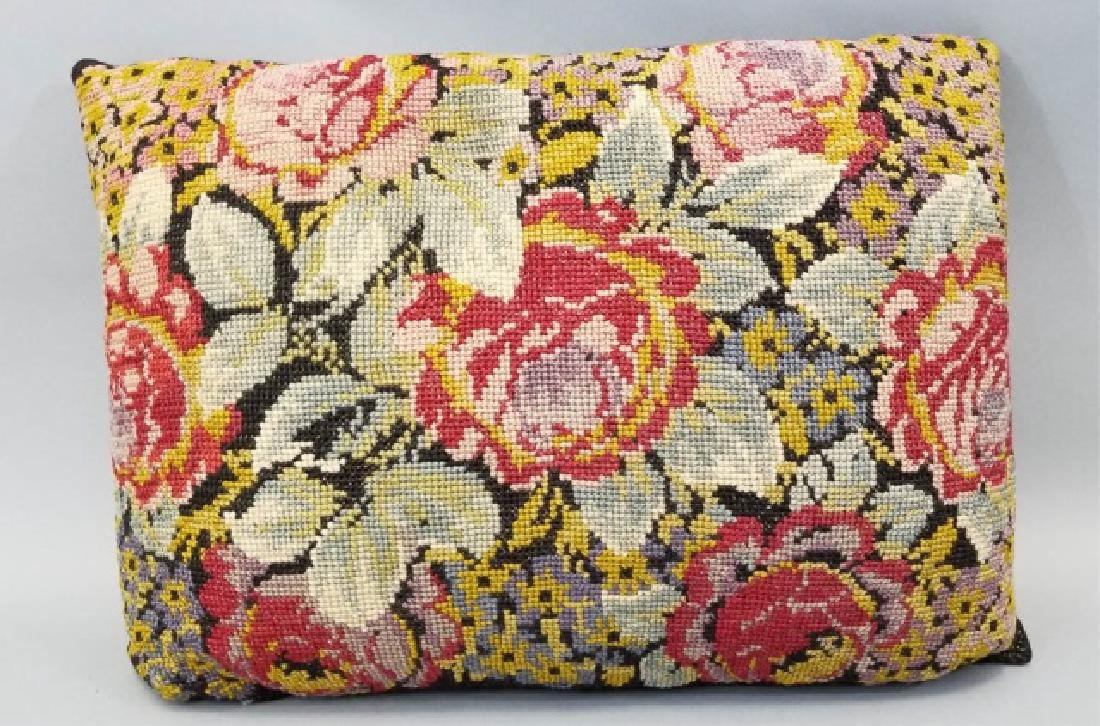 2 Pillows with Antique Needlepoint Textile Fronts - 7