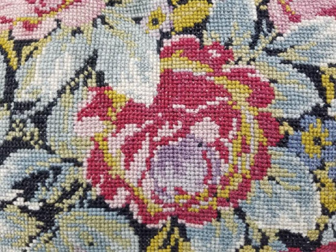 2 Pillows with Antique Needlepoint Textile Fronts - 8