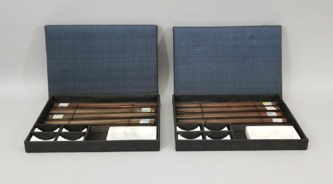 2 Boxed Sushi Sets Wooden Chopsticks w Stone Rests