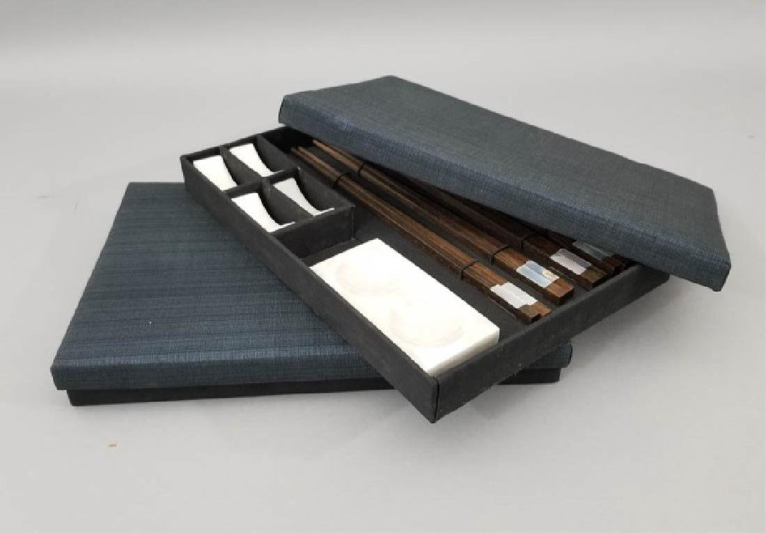 2 Boxed Sushi Sets Wooden Chopsticks w Stone Rests - 2