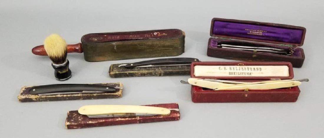 Group Vintage & Antique Shaving Blades & Strop
