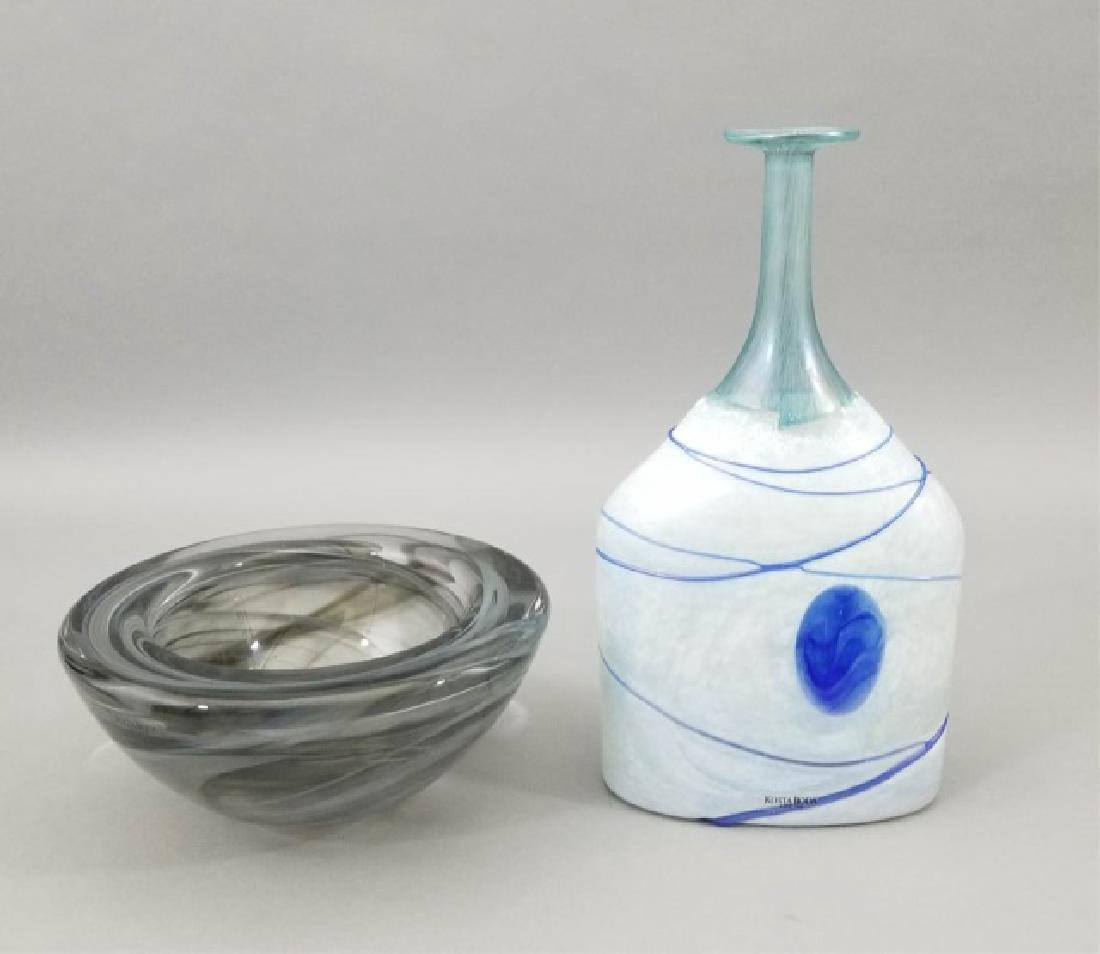 2 Kosta Boda Art Glass Table Items w Vase & Bowl