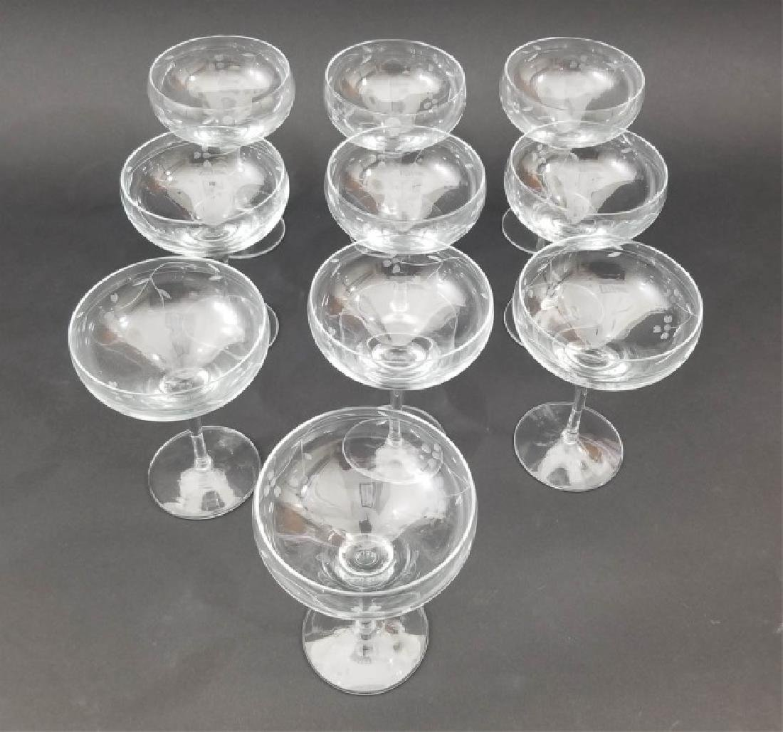 10 Mme Veuve Cliquot Etched Champagne Glasses