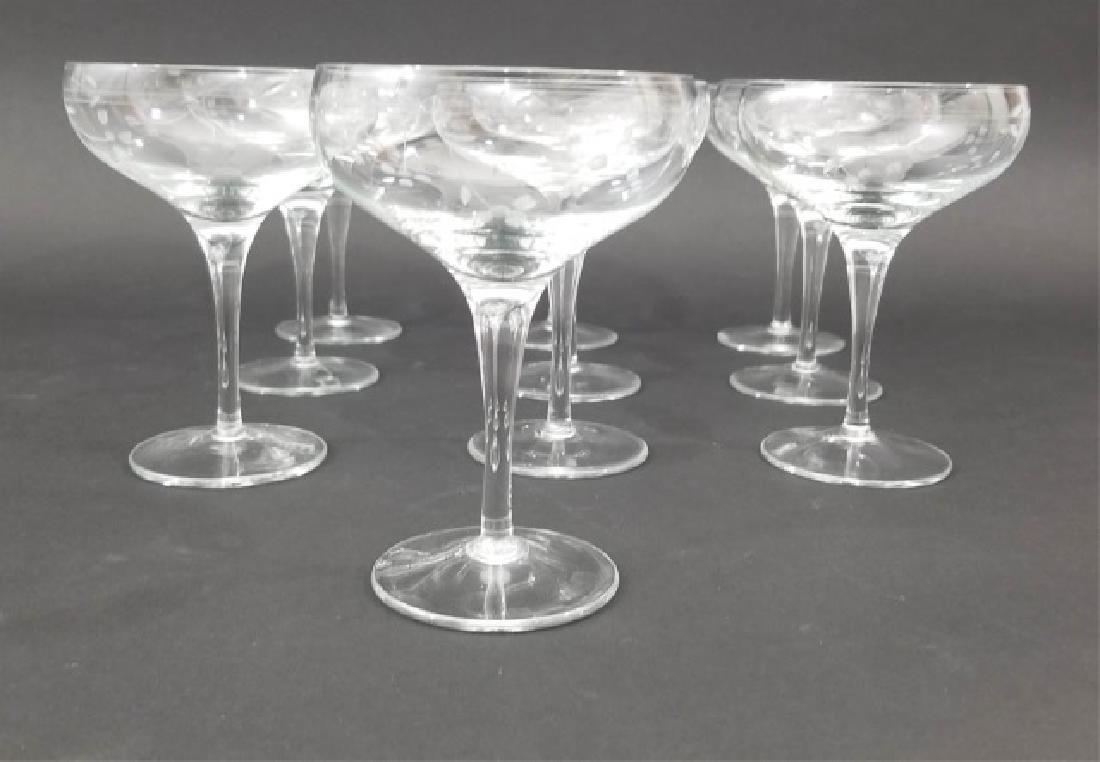 10 Mme Veuve Cliquot Etched Champagne Glasses - 3