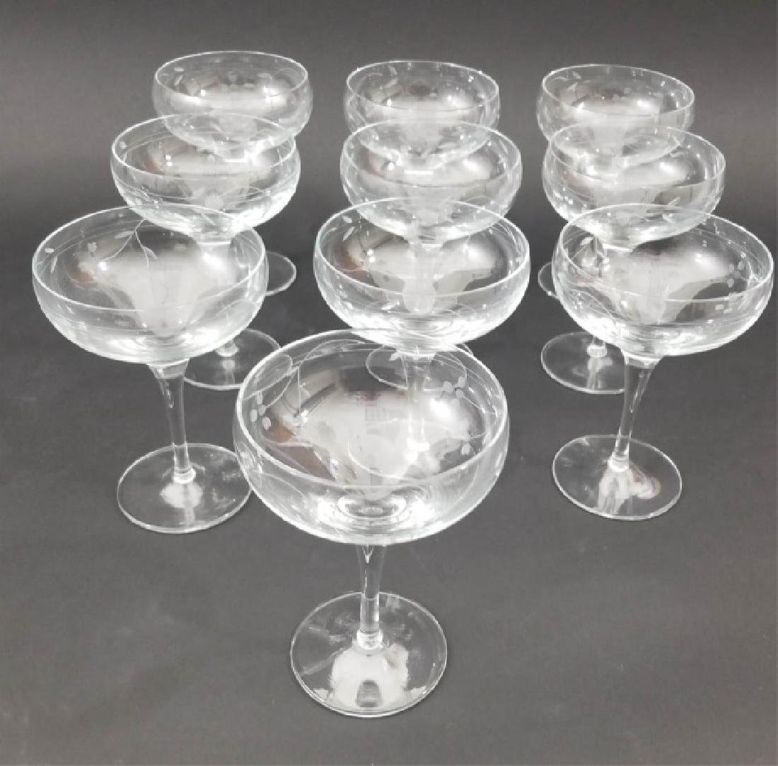 10 Mme Veuve Cliquot Etched Champagne Glasses - 4