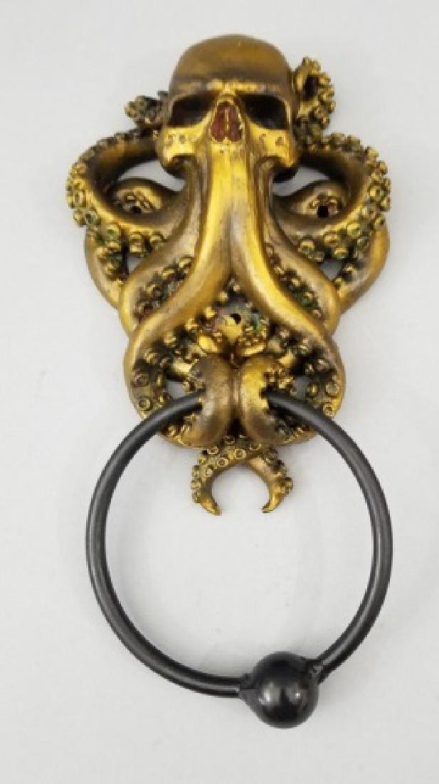 Bronze Patina Figural Skull & Octopus Door Knocker