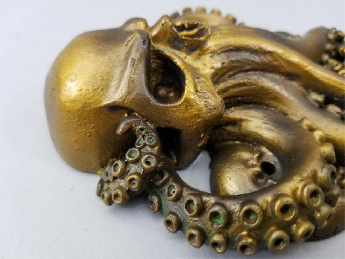 Bronze Patina Figural Skull & Octopus Door Knocker - 2
