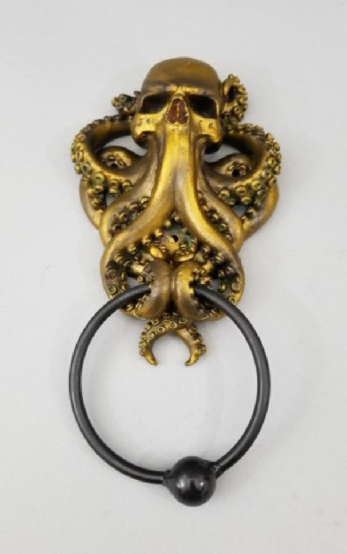 Bronze Patina Figural Skull & Octopus Door Knocker - 3