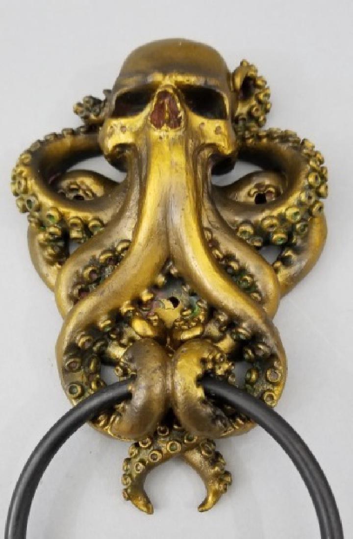 Bronze Patina Figural Skull & Octopus Door Knocker - 5