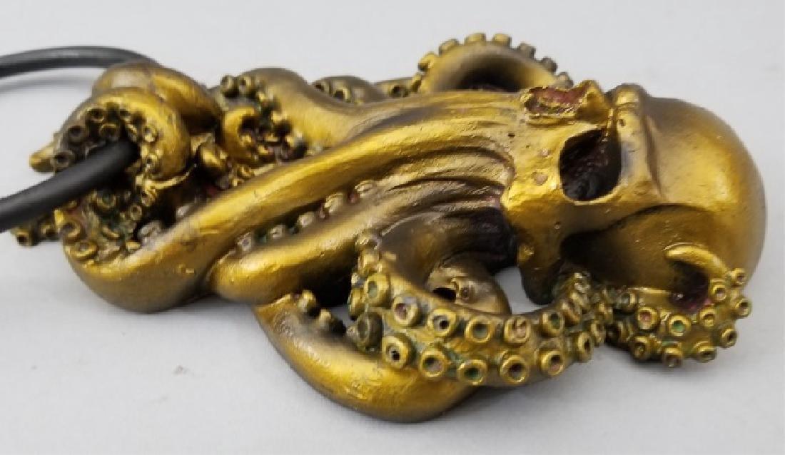Bronze Patina Figural Skull & Octopus Door Knocker - 6