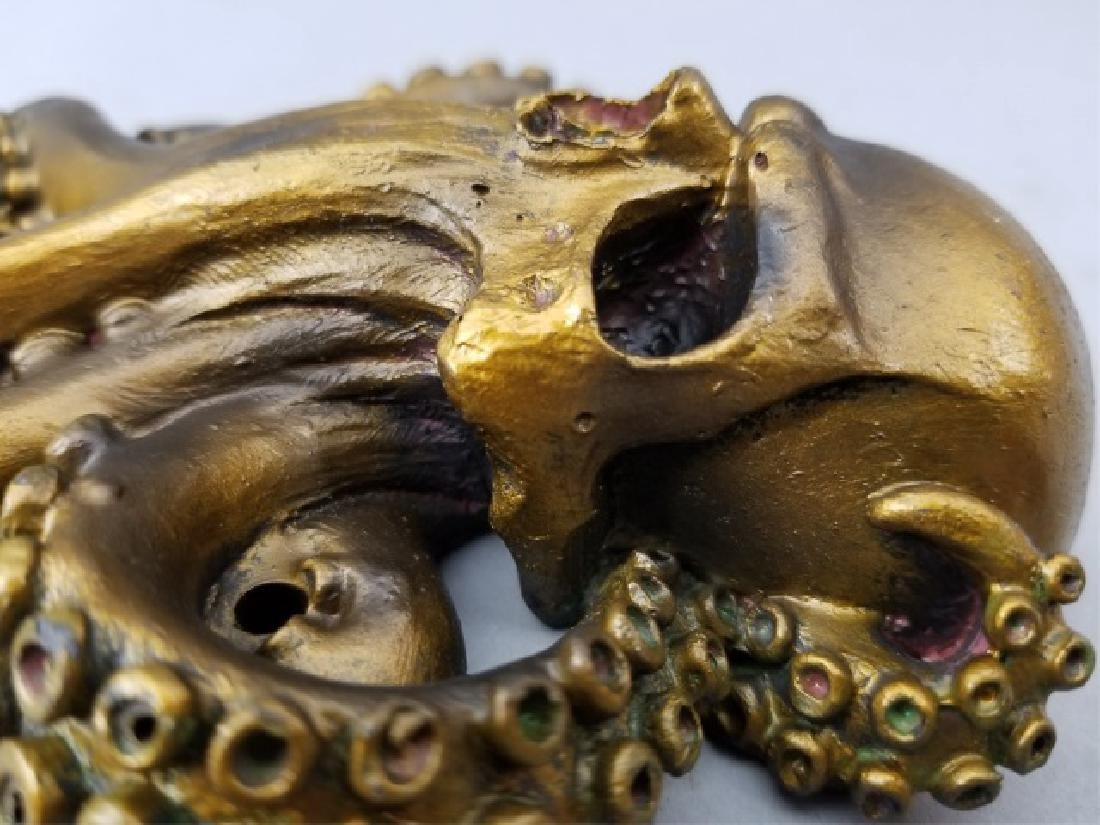 Bronze Patina Figural Skull & Octopus Door Knocker - 7