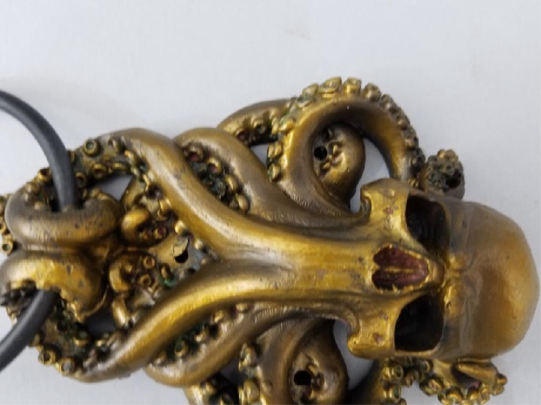 Bronze Patina Figural Skull & Octopus Door Knocker - 8