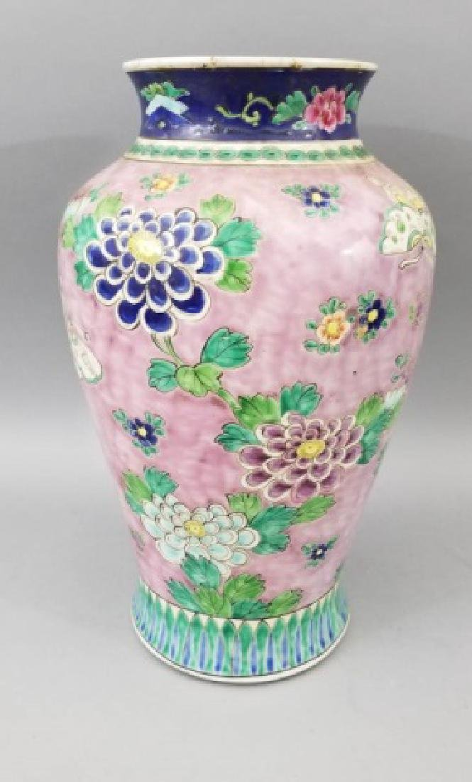 Large Antique Hand Painted Chinese Porcelain Vase
