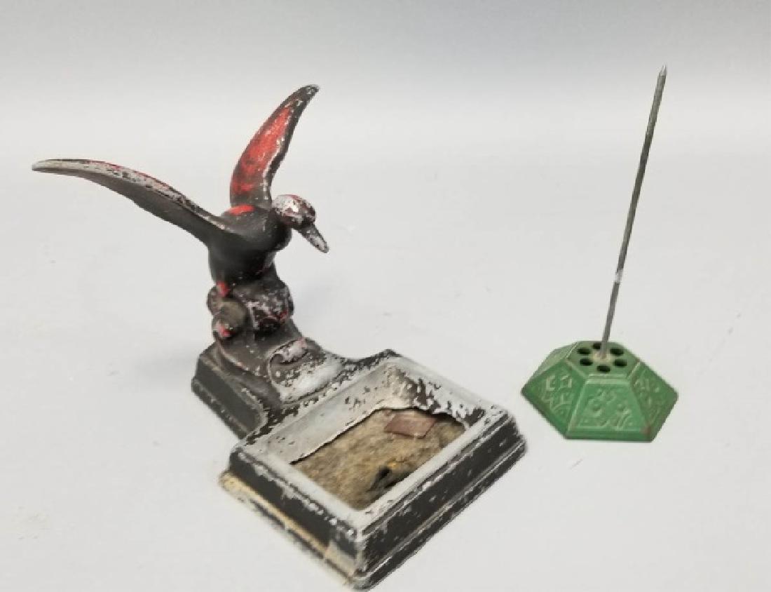 Antique Desk / Counter Card Holder & Receipt Spike