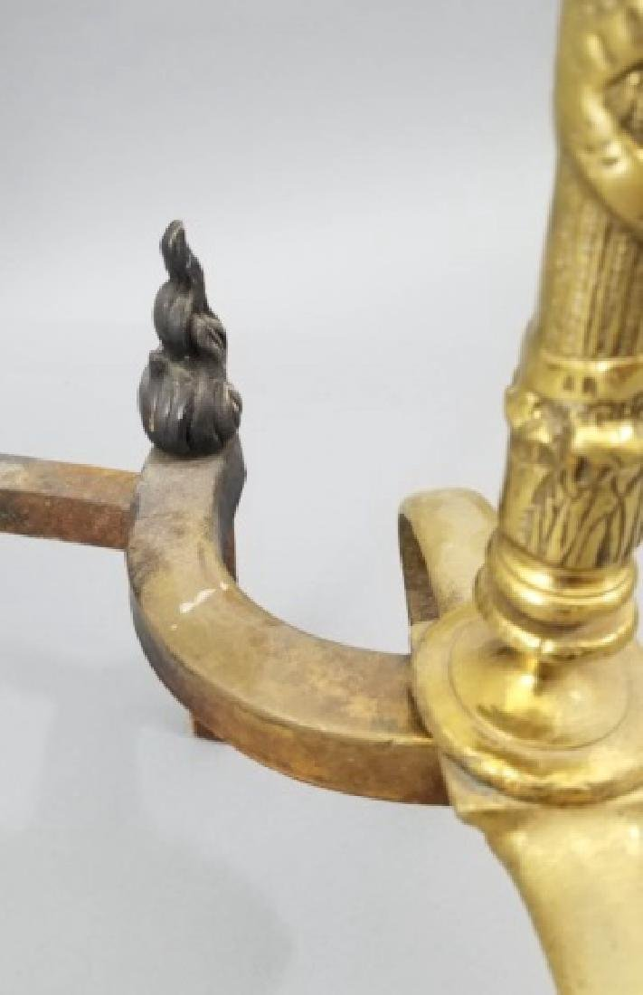 Pair of Empire-Style Brass Andirons - 10